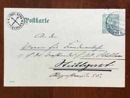 K5 Deutsches Reich  Württemberg Ganzsache Stationery Entier Postal DP 35/01 DV 18 2 8 Von Tübingen Nach Stuttgart - Wuerttemberg