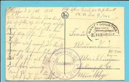 Kaart (Ypres) Met Treinstempel (ambulant) GENT-COURTRAI / BAHNPOST / Z 117. 5.10.1915 - [OC1/25] General Gov.