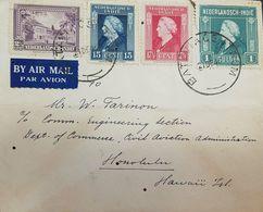 O) 1946 NETHERLANDS INDIES, QUEEN WILHEMINA SCOTT A34-SCOTT A35 - 15 CENTS  17 -1/2 CENT-1G, AIRMAIL TO HAWAII - Indes Néerlandaises