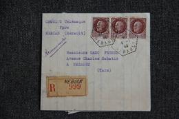 Lettre Recommandée De NEBIAN (34) Vers MAZAMET - Lettres & Documents
