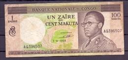 Congo Ex Belgian 100 Makuta 1968 VF - [ 5] Congo Belga
