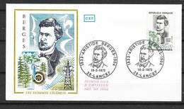 FDC   Lettre Premier Jour Lancey Le 19/02/1972 Le  N°1707 Aristide Bergès Electricité   Soldé à Moins De 20 % ! ! ! - Electricidad