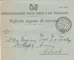 Manoppello. 1931. Annullo Guller MANOPPELLO * PESCARA *, Su Biglietto Urgente Di Servizio - 1900-44 Vittorio Emanuele III