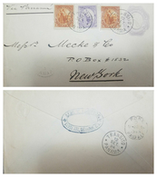 O) 1894 EL SALVADOR, LIBERTY 5 CENTAVOS ORANGE BROW-LIBERTY 10 CENTAVOS LILA SCOTT A26, VIA PANAMA TO NEW YORK - El Salvador