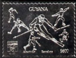 86891 (sport) Guyana 1992 'Genova 92' International Thematic Stamp Exhibition $600 Perf Embossed In Silver Foil Featur - Ete 1992: Barcelone