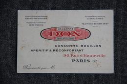 Carte De Visite Du Représentant De Commerce De La Société DOX - Visiting Cards