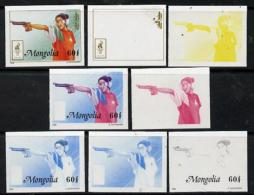 13566 (sport) Mongolia 1996 Atlanta Olympics 60t (Pistol Shooting) Set Of 7 Imperf Progressive Proofs Comprising The 5 I - Summer 1996: Atlanta