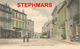 CPA 13 : MARSEILLE - ENDOUME - PLACE SAINT EUGÈNE - TRAMWAY - édition GUENDE - Endoume, Roucas, Corniche, Beaches