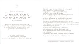 Devotie - Doodsprentje Non Zuster Maria Martha - Rosalia Wellens - Itegem 1914 - Tielt 2009 - Esquela