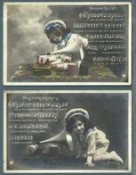 CPA - ENFANT ET LE GRAMOPHONE - CHANSONS - 3 Cartes - Szenen & Landschaften