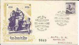 España 1950 San Juan De Dios. Certificado Circulado Barcelona Con Llegada. - FDC