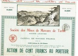 ALGERIE-MINES DE MERCURE DE TARHIT. ALGER. Action 1907.  DECO - Shareholdings