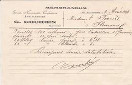 VIEUX PAPIER--33---CADILLAC SUR GARONNE--1918--G. COURBIN--ameublements, Tissus-( Memorandum )--voir  2 Scans - France