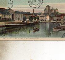 Annecy  23  Port Et Chateau  Des Ducs Du Genevois Le Timbre Est Decolle - Annecy