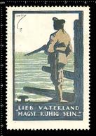 German Poster Stamp, Cinderella, Reklamemarke, Vignette, World War One Propaganda, Artist Alexander M. CAY, Navy Warship - WW1