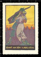 German Poster Stamp, Cinderella, Reklamemarke, Vignette, World War One Propaganda, Artist Alexander M. CAY, Soldier - WW1
