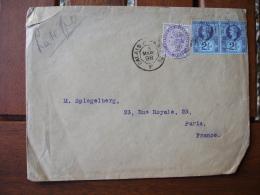 Calais A Paris F Poste Ferroviaire 1898 Ambulant Convoyeur 3 Timbre Angleterre - Postmark Collection (Covers)