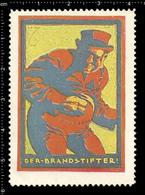 German Poster Stamp Cinderella Reklamemarke World War One Propaganda Artist Alexander M. CAY, John Bull English Arsonist - WW1
