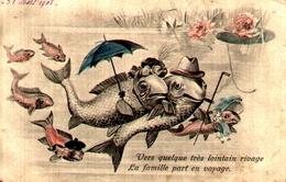 1er Avril 103, Poisson Humanisé La Famille Part En Voyage - 1° Aprile (pesce Di Aprile)