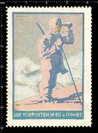German Poster Stamp, Cinderella, Reklamemarke, Vignette, World War One Propaganda, Artist Alexander M. CAY, Skier Patrol - WW1