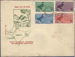 PAKISTAN 1960 FDC FIRST DAY COVER JAMMU KASHMIR JUNAGADH AND MANDAVDAR DEFINITIVE  MAP INDIA AS PER SCAN - Pakistan