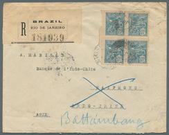 09195 Kambodscha: 1922. Registered Envelope Addressed To The 'Bank Of Indo-China, Haiphong' Bearing Brazil - Cambodia