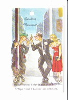 Bonne Année, Gelukkiy Neuvjaar, Homme Ivre, Pin-up, Réverbère, Signée Illisible, Ed. M.D. Paris 1960 Environ - Nouvel An
