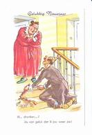 Bonne Année, Gelukkiy Neuvjaar, Homme Ivre,  Matronne En Bigoudis, Cotillons, Escalier, Signée RAP, Ed. M.D. Paris - Nouvel An