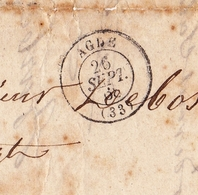 Lettre 1868 Agde Hérault Barbe Pour Couiza Aude Cachets: Narbonne Carcassonne Espéraza - Postmark Collection (Covers)