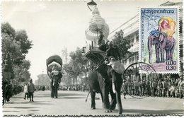 LAOS THEME ELEPHANT CARTE MAXIMUM DU N°46   30c. ELEPHANT OBLITERATION VIENTIANE 17-2-1958 - Elephants