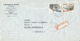 Portugal Air Mail Cover Sent To Denmark Santa Justa 4-1-1980 - Airmail