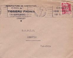 Lettre à Entête Cholet 1947 Manufacture Tisseau Frères Pour SAPIT Rosheim - Marcophilie (Lettres)