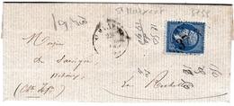 Lettre Avec Correspondance 1864 Saint Maixent L'École Deux Sèvres Pour La Rochelle Charente Maritime - 1849-1876: Période Classique