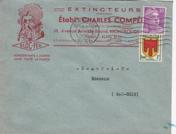 Lettre à Entête Montrouge 1950 Extincteurs Bloc Feu Pour SAPIT Rosheim - Marcophilie (Lettres)