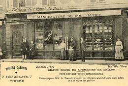 63. CP. THIERS. Rivière Caburol, 7 Rue De Lyon, Manufacture De Coutellerie. - Thiers