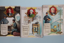 3  CHROMOS  DES  BISCUITS  HUNTLEY  &  PALMERS     LES  INVENTEURS - Confectionery & Biscuits