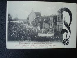 MESSINES : Fête Annuelle De La Mi-carème - Réunion Des Chars Et Groupes Du Cortège Sur La Grand Place Avant 1906 - Mesen