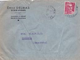 Lettre à Entête Terrasson 1947 émile Delmas Pour SAPIT Rosheim - Postmark Collection (Covers)
