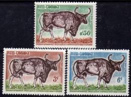Cambodge N° 144 / 46 XX   Kouprey, Boeuf Sauvage Les 3 Valeurs Sans Charnière TB - Cambodia