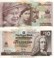 "SCOTLAND   £10  ""The Royal Bank Of Scotland"" P368  Commemorative Diamond Jubilee ""4 Portraits Of The Queen""  2012   UNC - [ 3] Escocia"