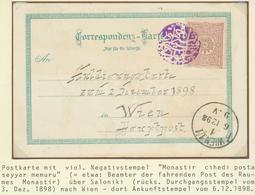 "16393 Türkei - Stempel: 1898, 20p. Postcard, From Saloniki To Vienna, Tied By All Arabic ""MANASTIR CIHETI - Turkey"