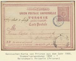 "16395 Türkei - Stempel: 1900, ""PRIZREN"" Blue All Arabic Cancellation (Coles.-Walker No.114) On Postal Stat - Turkey"