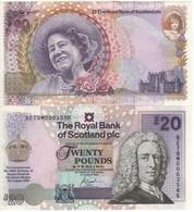 """SCOTLAND   £20  """"The Royal Bank Of Scotland"""" P361  Commemorative Birth Centennial Queen Mother """"  2000  UNC - 20 Pounds"""