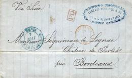 """1863- Lettre En Port Destination  De St DENIS """" Via Suez """"  Pour Bordeaux - Cartas"""