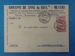MESTRE CARPENEDO VENEZIA 1916 BUSTA PUBBLICITARIA OPIFICIO DI COLLEGANZA GIOVANNI DE ANNA FU GIUS.PPE - Storia Postale