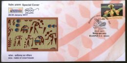 India 2017 Kosa Fabric Textile Handicraft Moth Insect BILASAPEX Sp Cover # 18076 - Textile