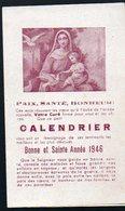Calendrier 1946 Offert Par Votre Curé  (PPP12216B) - Calendars