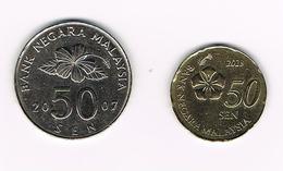 &   MALAYSIA  2 X 50  SEN 2007/2013 - Malaysie