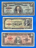 Lot Cuba 1 5 10 20 50 100 Pesos 1958 1959 1960 Peso Centavos Kuba Paypal Skrill Bitcoin OK - Cuba