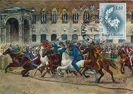 D33618 CARTE MAXIMUM CARD 1963 SAN MARINO - SARACEN JOUST - HORSES CHIVALRY CP ORIGINAL - Horses